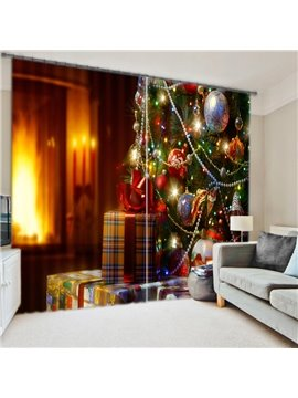 3D Christmas Gifts Print Energy Saving Curtain