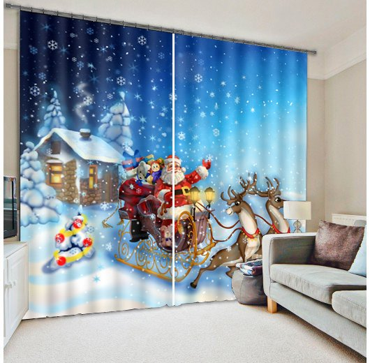 3D Lovely Santa Claus with White Snow Christmas Scene Printed Polyester Blackout Curtain