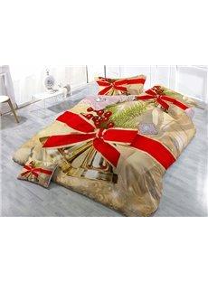 Jingle Bell Christmas Decor Print Christmas 4-Piece Duvet Cover Sets