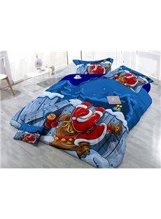 Santa Claus Print Satin Drill 4-Piece Blue Duvet Cover Sets