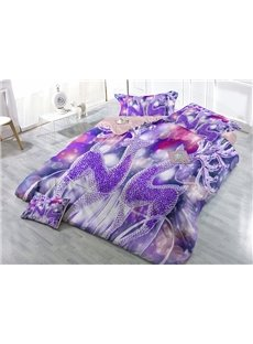 Dreamlike Purple Reindeer Print Satin Drill 4-Piece Christmas Duvet Cover Sets