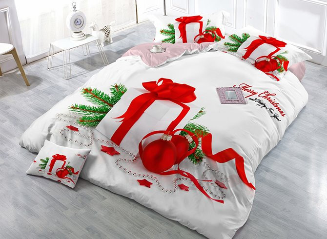 81 Christmas Gift Print Satin Drill 4 Piece White Duvet Cover Sets