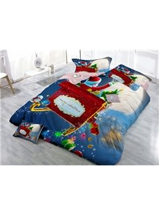 Santa Claus on Sleigh Print Satin Drill 4-Piece Christmas Duvet Cover Sets