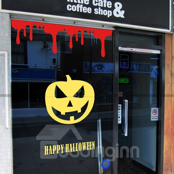 Halloween Scary Dribble Blood Wall Door Glass Window Decoration Removable Wall Sticker