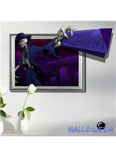 Happy Halloween Skeleton Man in Suits 3D Wall Sticker