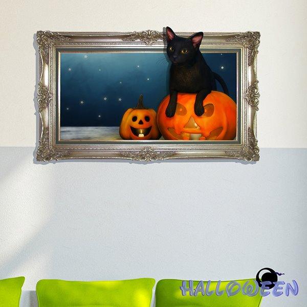 Halloween Black Cat and Pumpkin Head 3D Wall Sticker