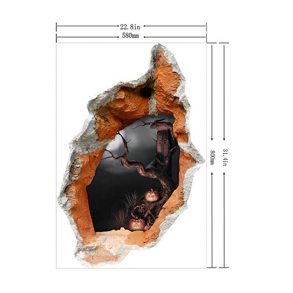 Halloween Dark Scary Forest Hole Peek 3D Wall Sticker
