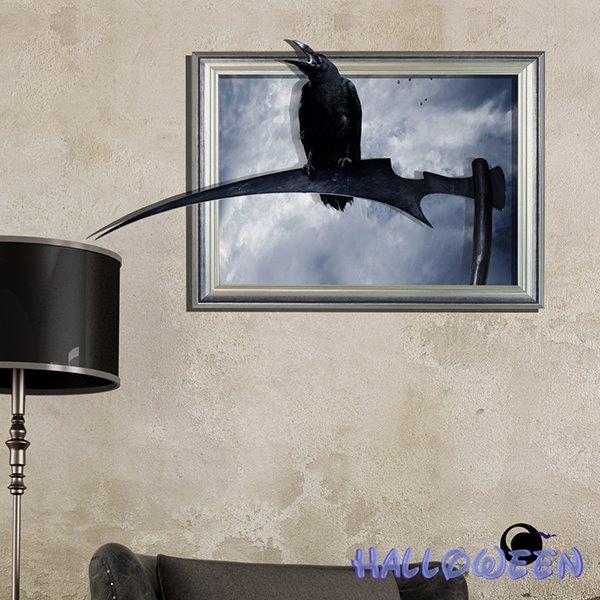 Halloween Black Crow Sitting on a Sickle 3D Wall Sticker