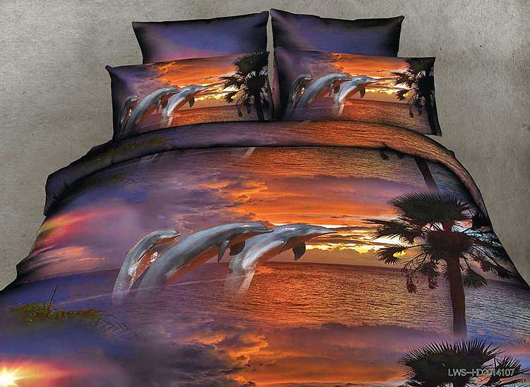 Twilight Scenery Jumping Dolphins Print 4-Piece Duvet Cover Sets