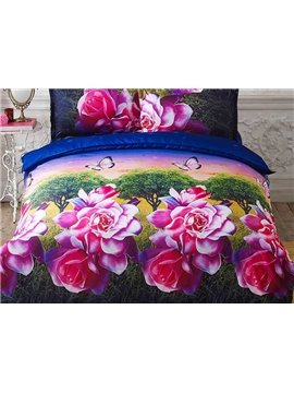 Butterflies Trees Red Flowers Print 4-Piece Duvet Cover Sets