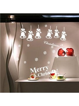 Festival Merry Christmas and Jingle Bells Glass Wall Decoration Removable Wall Sticker