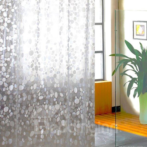 New Arrival Rain Flower Pebbles Design Waterproof Shower Curtain