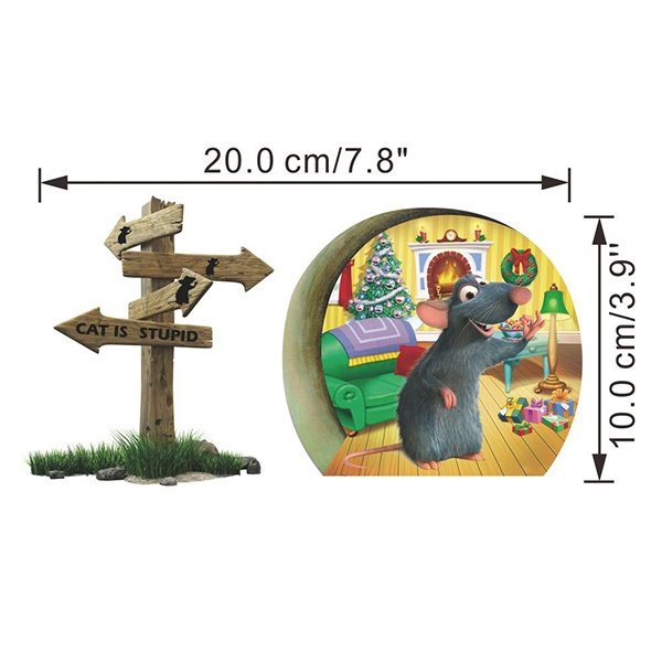 Creative Cute little Rat Celebrating Christmas Removable 3D Wall Sticker