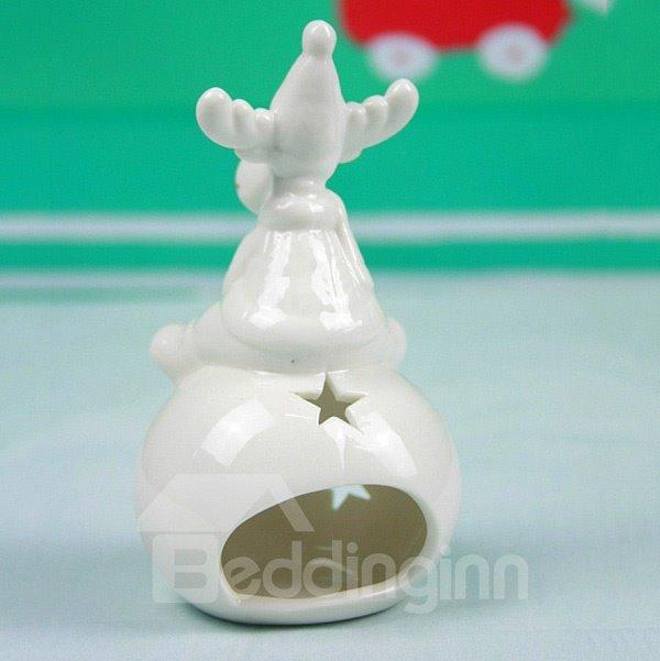 Lovely Smiling Reindeer Design Ceramic 2-Piece Candle Holder