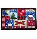 Festival Christmas Theme Cottage and Tree Patchwork Anti-Slipping Doormat