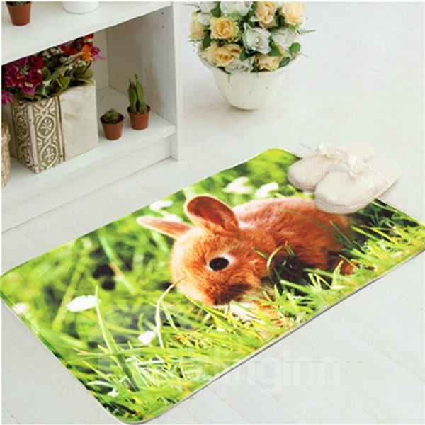 Cute Little Rat in Grass Anti-Slipping Doormat