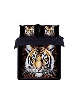 Stylish Tiger Head Print Black 4-Piece Cotton Duvet Cover Sets