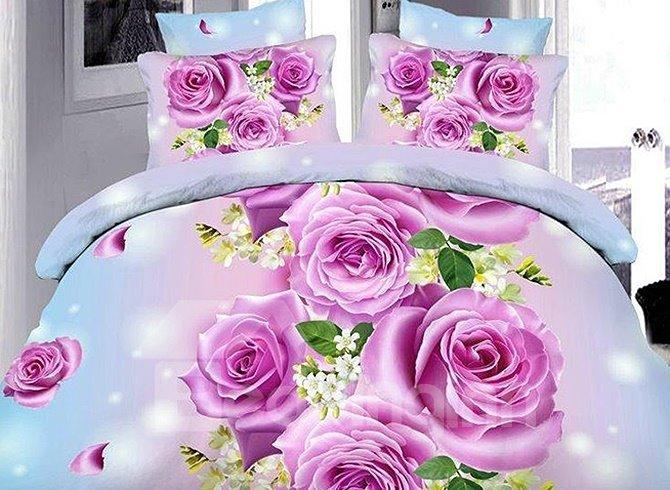 Fancy Purple Flowers Print Polyester 4-Piece Duvet Cover Sets