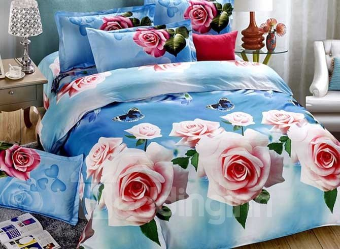 Gorgeous Pink Flowers Butterflies Print 4-Piece Duvet Cover Sets