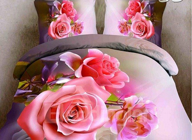 New Arrival Vivid Pink Flower Print 4-Piece Duvet Cover Sets