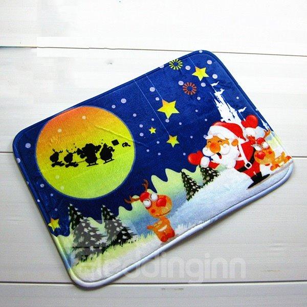 Festival Christmas Theme Santa Claus on Snowy Night Anti-Slipping Doormat