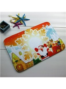 Festival Merry Christmas Snowflake and Santa Claus Anti-Slipping Doormat