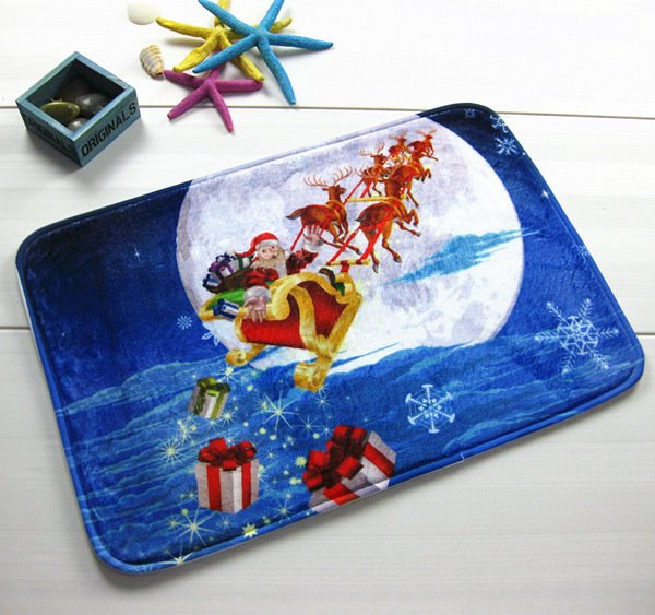 Festival Christmas Santa Claus Riding Sledge to the Moon Anti-Slipping Doormat