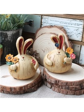 Creative Onion Design Long Ear Bunny 1-Pair Resin Desktop Decoration