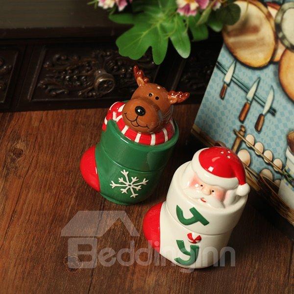 Christmas Theme Seasoning Jar Santa Claus and Reindeer Design Desktop Decoration