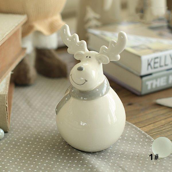 Christmas Theme Smiling Lovely Ceramics Reindeer Sculpture Desktop Decoration