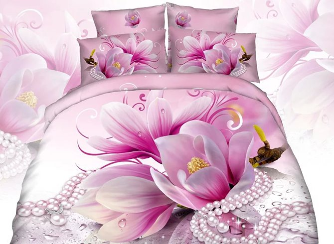 3D Pink Magnolia and Necklace Printed Cotton 4-Piece Bedding Sets/Duvet Cover