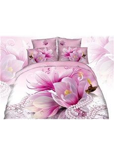 Pink Blooming Flowers Necklace Print 4-Piece Cotton Duvet Cover Sets