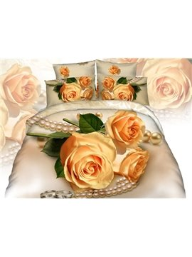 Romantic Yellow Rose Necklace Printing 4-Piece Cotton Duvet Cover Sets