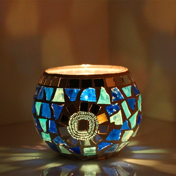 Romantic Table Decoration Glass Mosaic Candle Holder