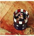 American Flag Pattern 3-Piece Glass Candle Holder