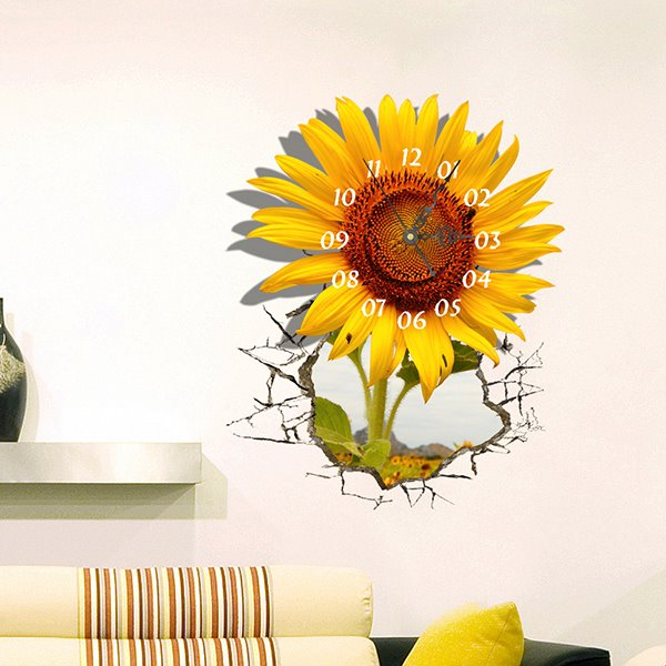 Gorgeous 3D Sunflower Design Wall Clock