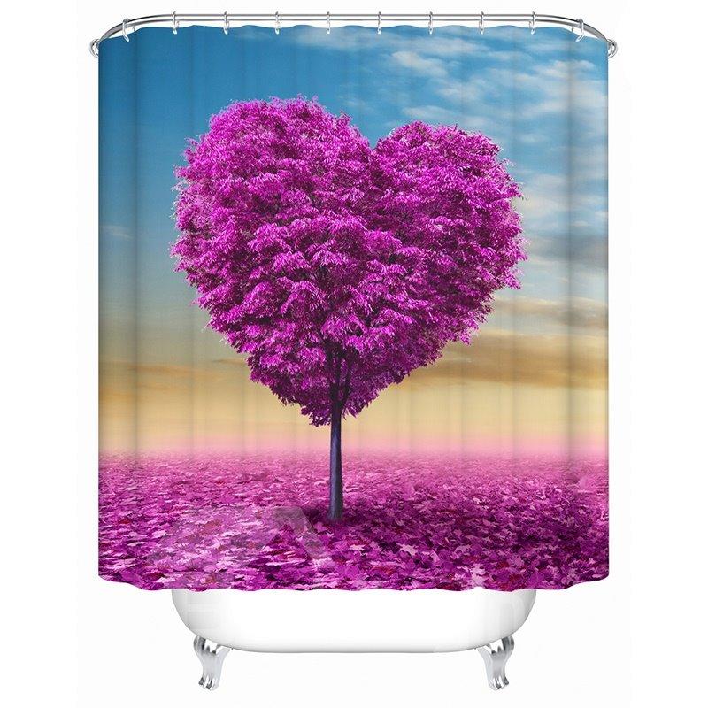 3D Waterproof Purple Heart Shape Tree Printed Polyester Shower Curtain