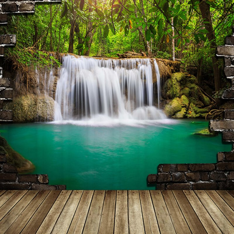 3D Waterfall And Forest Printed Polyester Green Bathroom