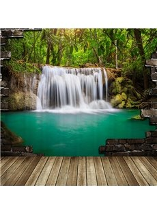 Peaceful Pastoral Waterfall and Lake 3D Shower Curtain