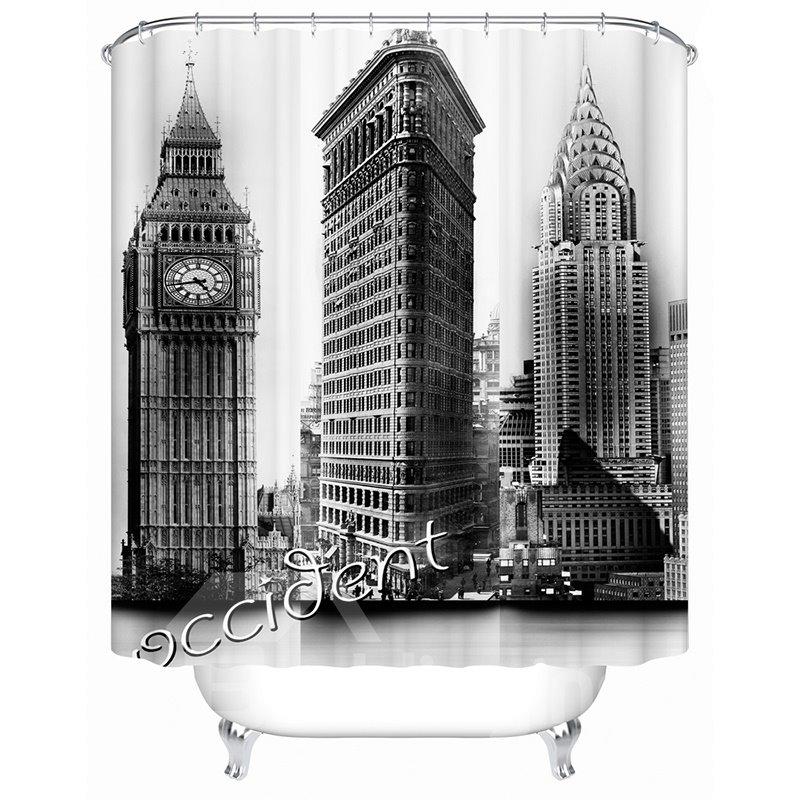 Black and White Big Ben Print Waterproof Shower Curtian