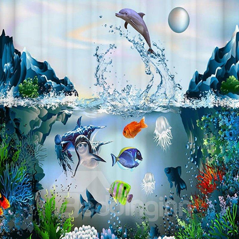 Vivid Submarine World Design 3D Print Shower Curtain