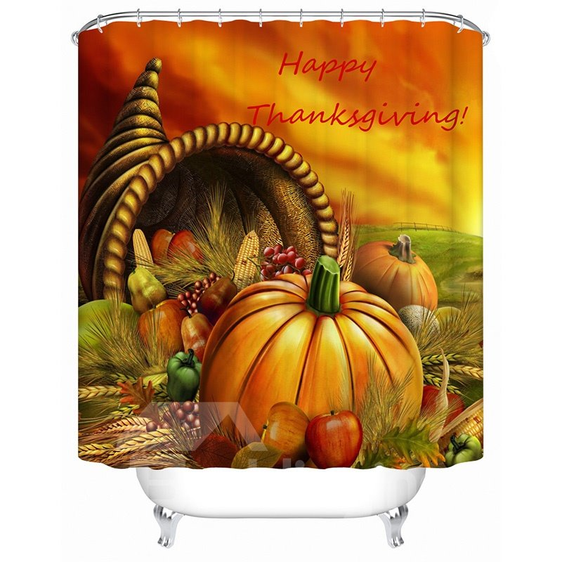 Lovely Thanksgiving 3D Pumpkin Image Shower Curtain