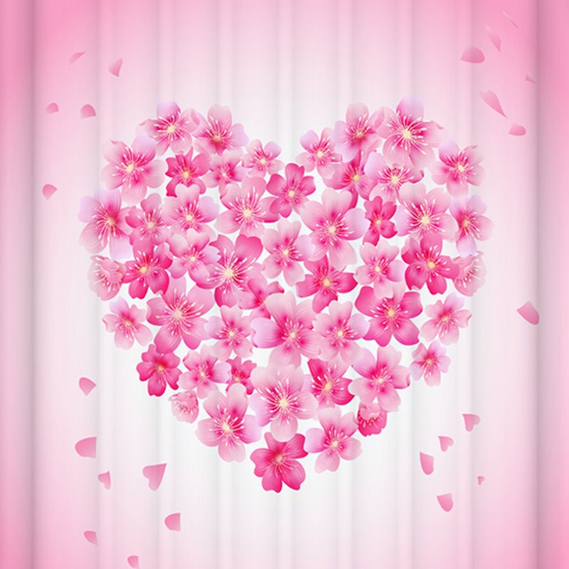 Attractive Pink Floral Heart Design 3D Shower Curtain ...