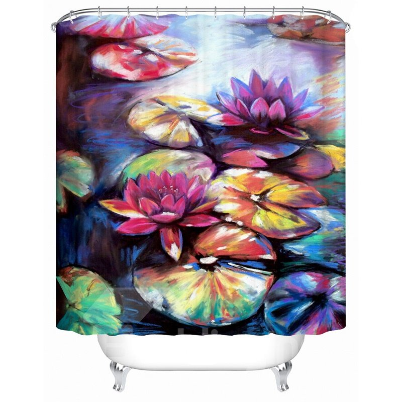 Charming Retro Style Lotus Design 3D Shower Curtain