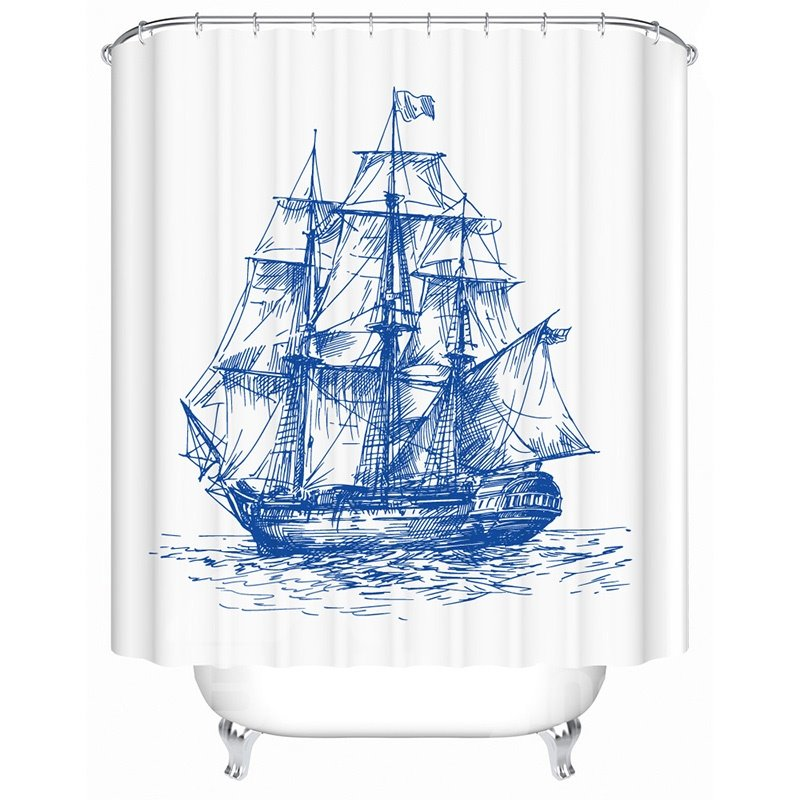New Style Concise Sketched Fleet Image 3D Shower Curtain
