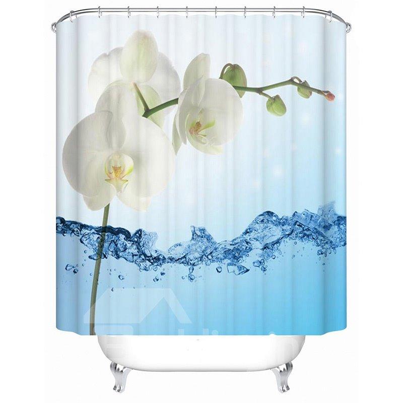 Concise Unique Flower Printing 3D Shower Curtain