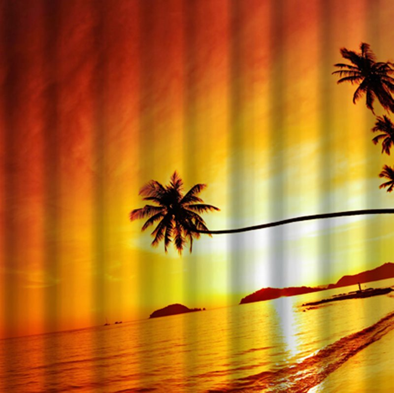 3D Coconut Tree and Beach in Sunset Printed Polyester Red Shower Curtain