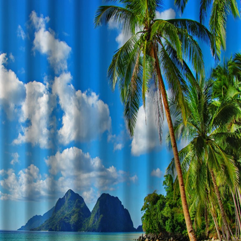 3d Coconut Tree And Beach Scenery Printed Polyester Shower