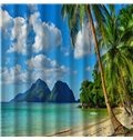 3D Coconut Tree and Beach Scenery Printed Polyester Shower Curtain