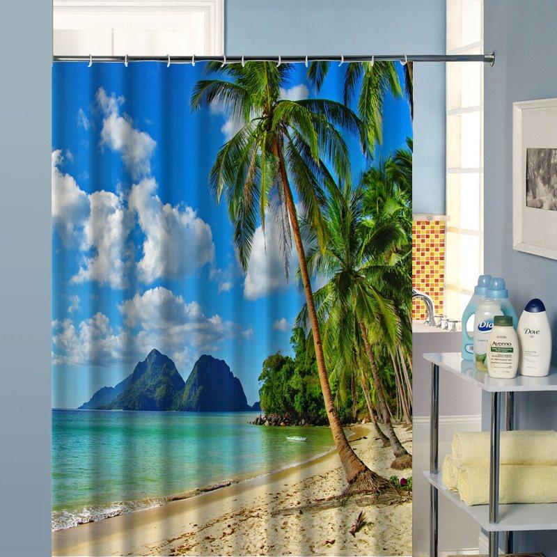 Pleasant Beach in Sunny Day Printing 3D Bathroom Shower Curtain